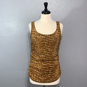 NY&Co | Ruched Reptile Print Sleeveless Top M